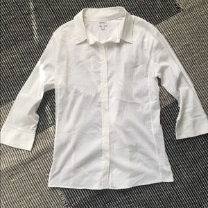 Armani Collezioni White Button-up Sheer Stripe Top